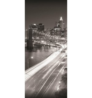 Foto tapeta: Crno-bijeli Brooklyn Bridge (1) - 211x91 cm