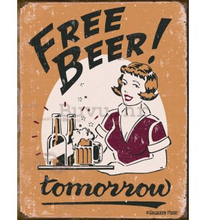 Metalna tabla - Free Beer! Tomorrow (girl)