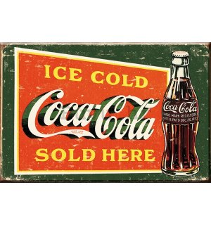 Metalna tabla: Coca-Cola (Ice cold, Sold Here, vintage) - 30x40 cm