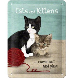 Metalna tabla: Cats and Kittens - 20x15 cm