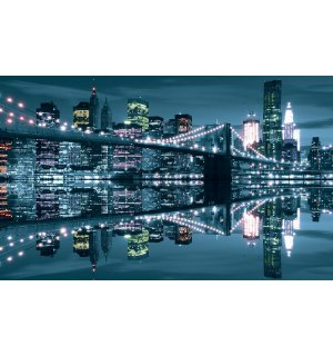Slika na platnu: Plavi Brooklyn Bridge - 75x100 cm