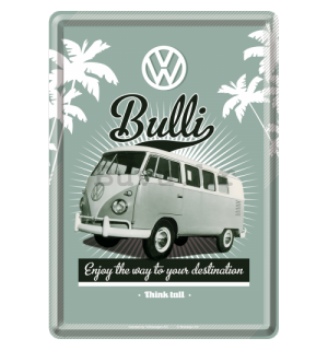 Metalna razglednica - VW Bulli (Enjoy the Way to Yours Destination)