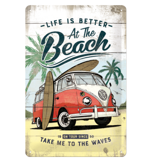 Metalna tabla: VW Life is Better at the Beach - 30x20 cm