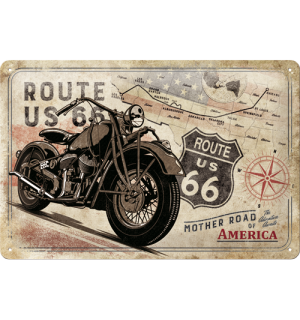 Metalna tabla: Route 66 (mapa) - 20x30 cm