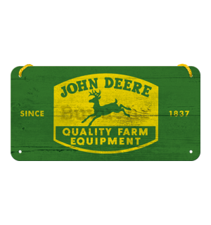 Metalna viseća tabla: John Deere (Quality Farm Equipment) - 10x20 cm