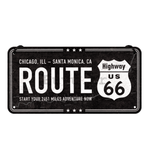 Metalna viseća tabla: Route 66 (Chicago - Santa Monica) - 10x20 cm