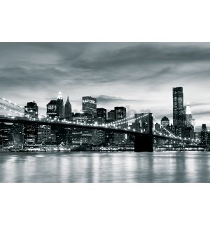 Foto tapeta Vlies: Brooklyn Bridge (crno-bijeli) - 254x368 cm