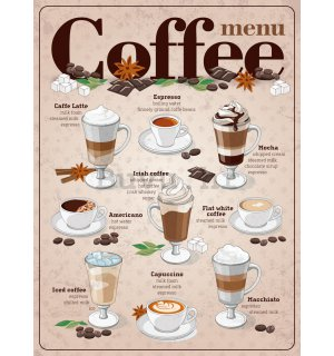 Metalna tabla - Coffee menu