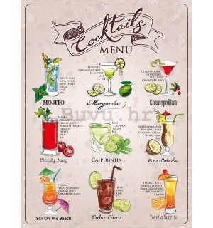 Metalna tabla - Coctail menu