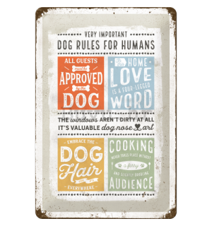 Metalna tabla: Dog Rules - 30x20 cm