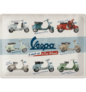 Metalna tabla: Vespa (A Small Car on Two Wheels) - 40x30 cm