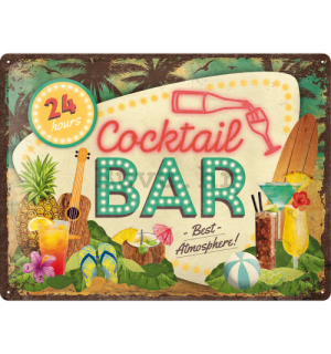 Metalna tabla: 24h Cocktail Bar - 40x30 cm