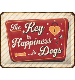 Metalna tabla: The Key to Happiness  - 15x20 cm