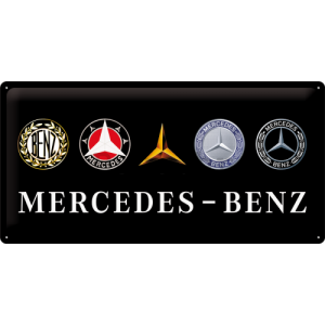 Metalna tabla: Mercedes-Benz (logotipi) - 25x50 cm
