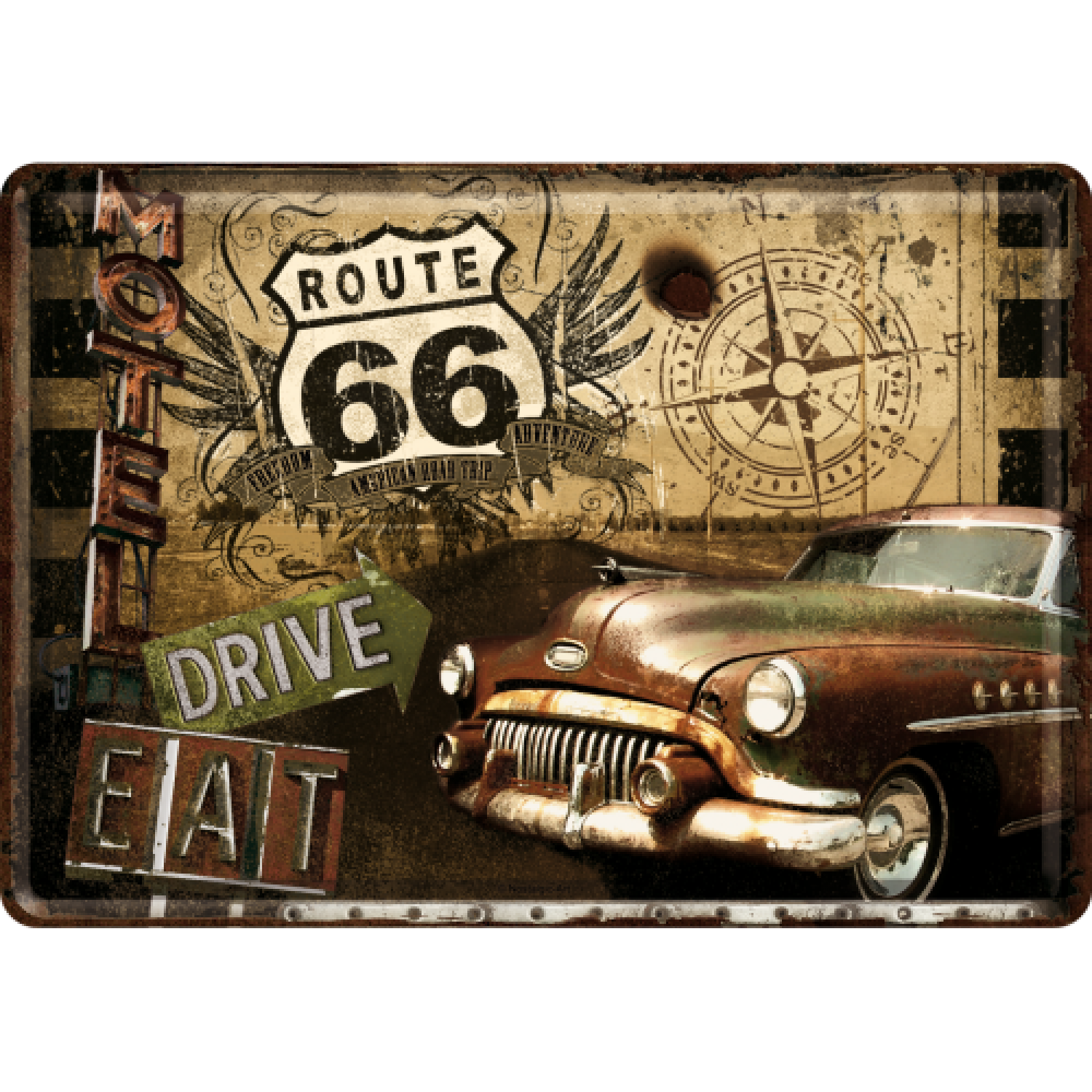 Metalna razglednica - Route 66 (Drive, Eat)
