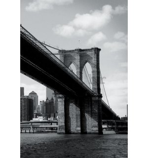 Foto tapeta: Crno-bijeli Brooklyn Bridge (4) - 158x232 cm