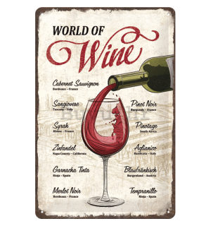Metalna tabla: World of Wine - 30x20 cm