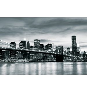 Foto tapeta Vlies: Brooklyn Bridge (crno-bijeli) - 184x254 cm