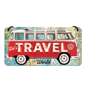 Metalna viseća tabla: VW Bulli (Let's Travel The World) - 10x20 cm