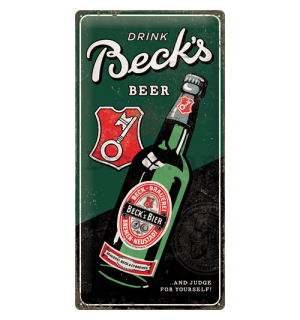 Metalna tabla: Beck's (Drink Beer Bottle) - 50x25 cm
