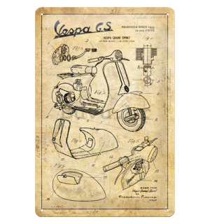 Metalna tabla: Vespa GS (Parts Sketches) - 30x20 cm