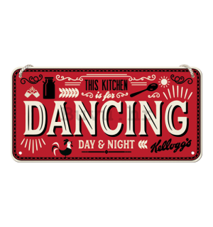 Metalna viseća tabla: This Kitchen is for Dancing - 10x20 cm