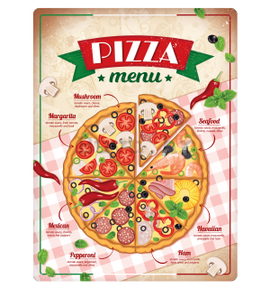 Metalna tabla: Pizza menu - 30x40 cm