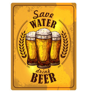 Metalna tabla: Save Water, Drink Beer - 30x40 cm