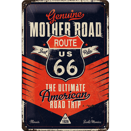 Metalna tabla: Route 66 (The Ultimate Road Trip) - 20x30 cm