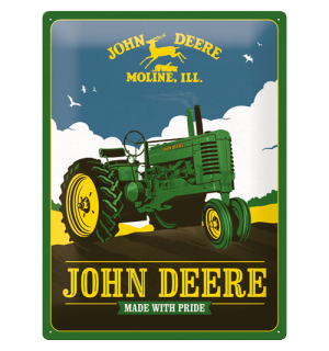 Metalna tabla: John Deere (Made With Pride) - 30x40 cm
