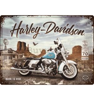 Metalna tabla: Harley-Davidson (King of Route 66) - 40x30 cm