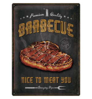 Metalna tabla: Barbecue Nice To Meat You - 40x30 cm
