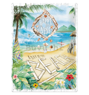 Metalna tabla: Happiness is a day at the beach - 40x30 cm