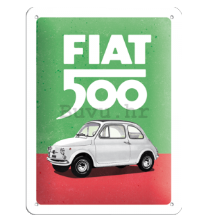 Metalna tabla: Fiat 500 (Italian Colours) - 15x20 cm