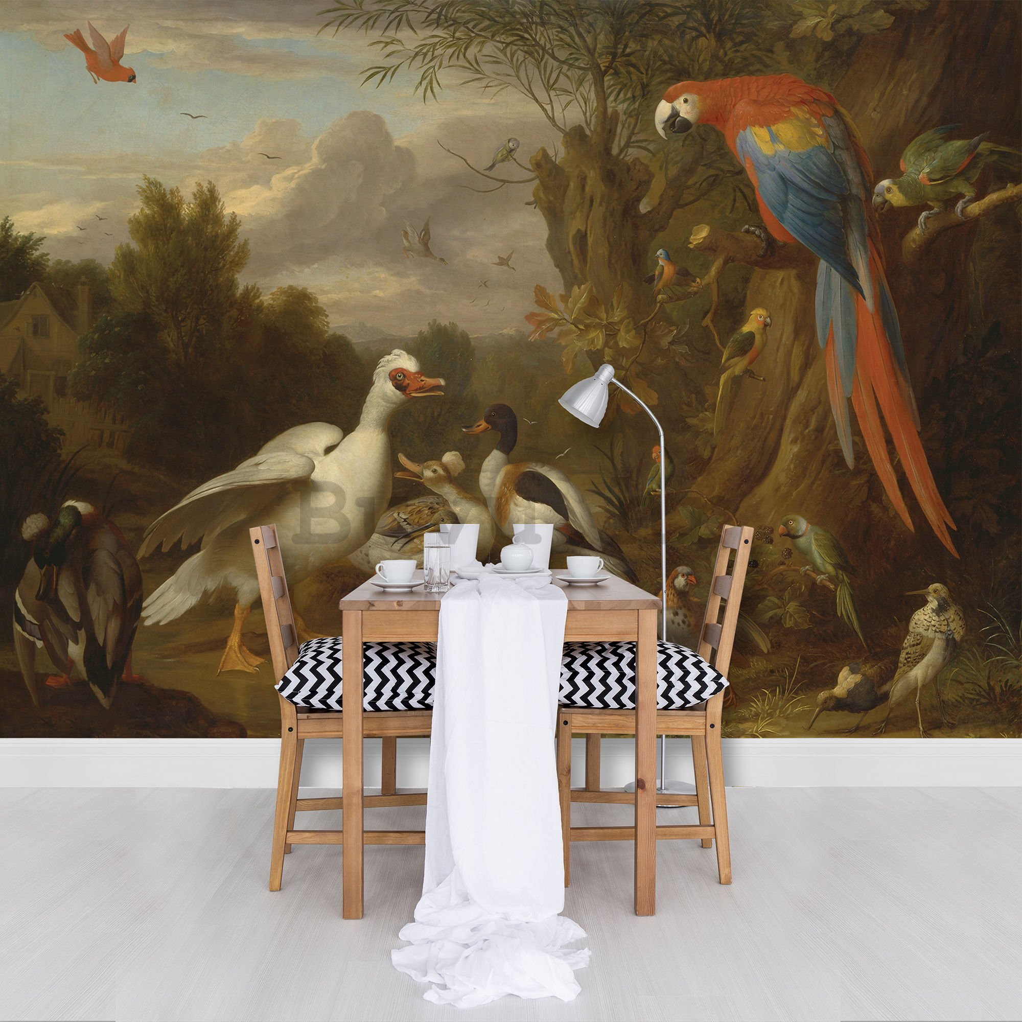 Foto tapeta: Ducks, Parrots and Other Birds in a Landscape - 184x254 cm