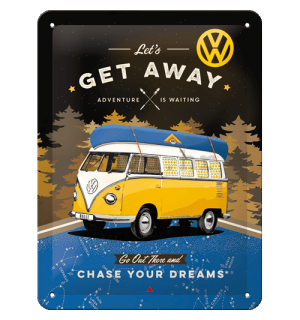 Metalna tabla: VW Bulli Let's Get Away (Night) - 15x20 cm