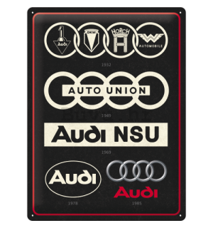 Metalna tabla: Audi Logo Evolution - 40x30 cm