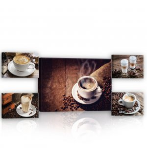 Slika na platnu: Coffee break - set 1kom 70x50 cm i 4kom 32,4x22,8 cm